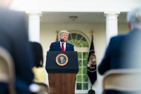 President Trump delivers remarks about the coronavirus during a press briefing. Source: Creative Commons