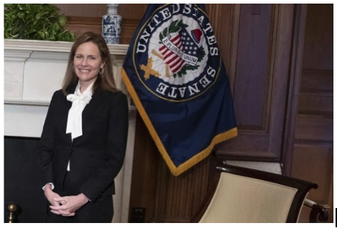Amy Coney Barrett being confirmed on Saturday, October 31. Source: Boston Herald