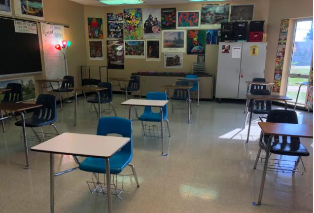 Cat Stathulis's socially distant classroom setup.  Photo courtesy of Erin Mayle