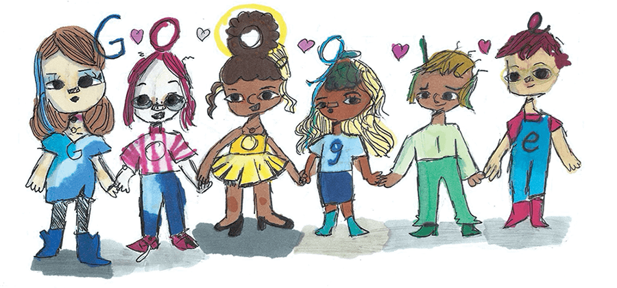 """Texas 5th grader Sharon Hara won the first-place prize in the US Doodle 4 Google contest in 2020. The prompt was """"I show kindness by…"""" Hara's artist statement stated, """"I show kindness by sticking together with my friends in tough times."""" Photo credit: Sharon Hara"""
